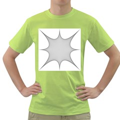 Star Grid Curved Curved Star Woven Green T Shirt