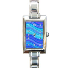 Blue Background Water Design Wave Rectangle Italian Charm Watch