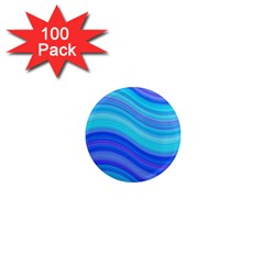 Blue Background Water Design Wave 1  Mini Magnets (100 Pack)