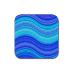Blue Background Water Design Wave Rubber Coaster (square)