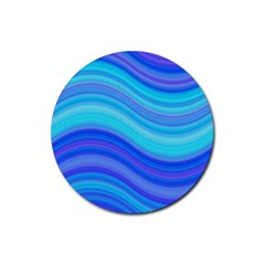 Blue Background Water Design Wave Rubber Round Coaster (4 Pack)