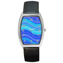 Blue Background Water Design Wave Barrel Style Metal Watch