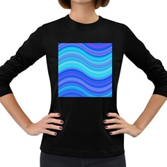 Blue Background Water Design Wave Women s Long Sleeve Dark T Shirts