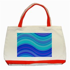 Blue Background Water Design Wave Classic Tote Bag (red)
