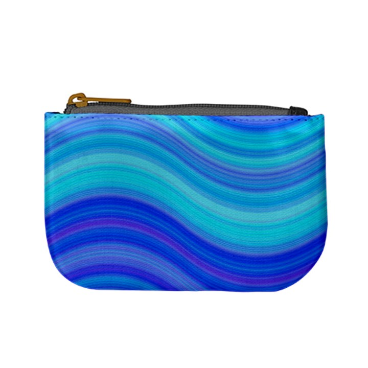 Blue Background Water Design Wave Mini Coin Purses