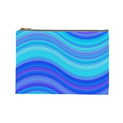 Blue Background Water Design Wave Cosmetic Bag (large)