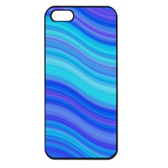 Blue Background Water Design Wave Apple Iphone 5 Seamless Case (black)
