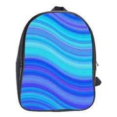 Blue Background Water Design Wave School Bag (xl)