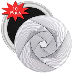 Rotation Rotated Spiral Swirl 3  Magnets (10 Pack)