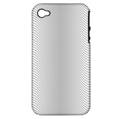 Monochrome Curve Line Pattern Wave Apple Iphone 4/4s Hardshell Case (pc+silicone)