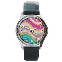 Wave Background Happy Design Round Metal Watch