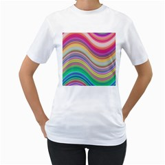 Wave Background Happy Design Women s T Shirt (white) (two Sided)