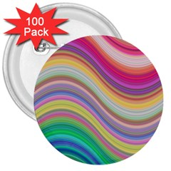 Wave Background Happy Design 3  Buttons (100 Pack)