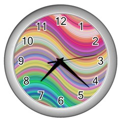 Wave Background Happy Design Wall Clocks (silver)