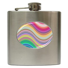 Wave Background Happy Design Hip Flask (6 Oz)