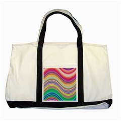 Wave Background Happy Design Two Tone Tote Bag