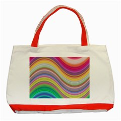 Wave Background Happy Design Classic Tote Bag (red)