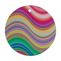 Wave Background Happy Design Round Ornament (two Sides)