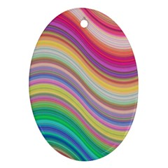 Wave Background Happy Design Oval Ornament (two Sides)