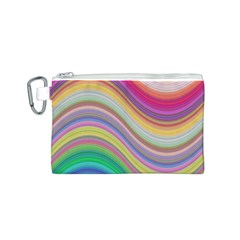 Wave Background Happy Design Canvas Cosmetic Bag (s)