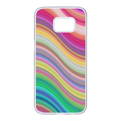 Wave Background Happy Design Samsung Galaxy S7 Edge White Seamless Case