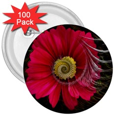 Fantasy Flower Fractal Blossom 3  Buttons (100 Pack)
