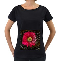 Fantasy Flower Fractal Blossom Women s Loose Fit T Shirt (black)