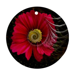 Fantasy Flower Fractal Blossom Round Ornament (two Sides)