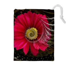 Fantasy Flower Fractal Blossom Drawstring Pouches (extra Large)