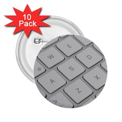 Keyboard Letters Key Print White 2 25  Buttons (10 Pack)