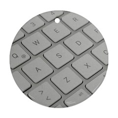 Keyboard Letters Key Print White Round Ornament (two Sides)