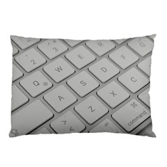 Keyboard Letters Key Print White Pillow Case