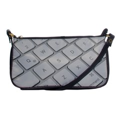 Keyboard Letters Key Print White Shoulder Clutch Bags