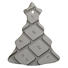 Keyboard Letters Key Print White Christmas Tree Ornament (two Sides)