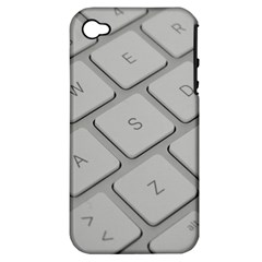 Keyboard Letters Key Print White Apple Iphone 4/4s Hardshell Case (pc+silicone)