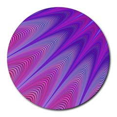 Purple Star Sun Sunshine Fractal Round Mousepads