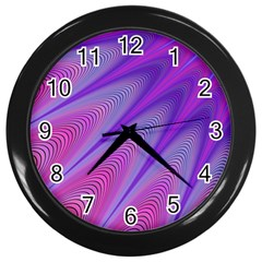 Purple Star Sun Sunshine Fractal Wall Clocks (black)