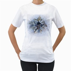 Winter Frost Ice Sheet Leaves Women s T Shirt (white) (two Sided)