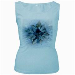 Winter Frost Ice Sheet Leaves Women s Baby Blue Tank Top