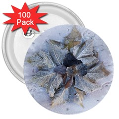 Winter Frost Ice Sheet Leaves 3  Buttons (100 Pack)