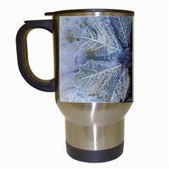 Winter Frost Ice Sheet Leaves Travel Mugs (white)