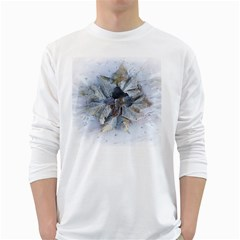 Winter Frost Ice Sheet Leaves White Long Sleeve T Shirts