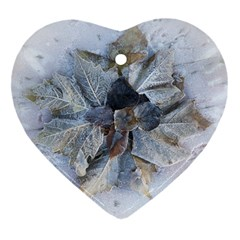 Winter Frost Ice Sheet Leaves Heart Ornament (two Sides)