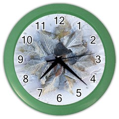 Winter Frost Ice Sheet Leaves Color Wall Clocks