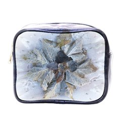Winter Frost Ice Sheet Leaves Mini Toiletries Bags