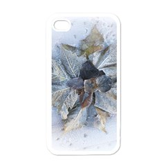 Winter Frost Ice Sheet Leaves Apple Iphone 4 Case (white)