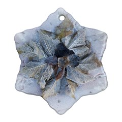 Winter Frost Ice Sheet Leaves Snowflake Ornament (two Sides)