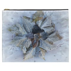Winter Frost Ice Sheet Leaves Cosmetic Bag (xxxl)