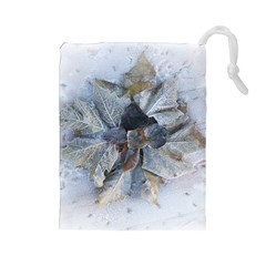Winter Frost Ice Sheet Leaves Drawstring Pouches (large)