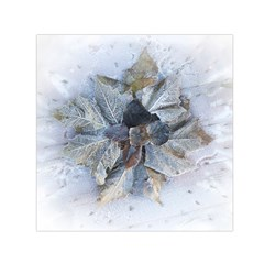 Winter Frost Ice Sheet Leaves Small Satin Scarf (square)